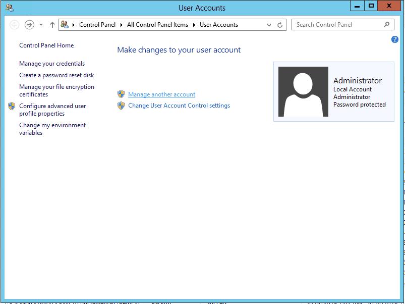 เปลี่ยนรหัสผ่าน Windows Server 2012 - Manage another account