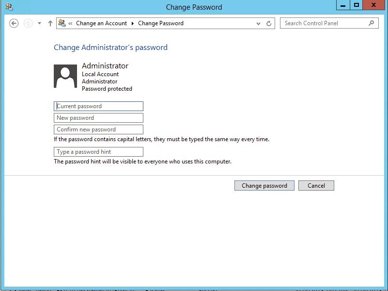 เปลี่ยนรหัสผ่าน Windows Server 2012 - Enter Password